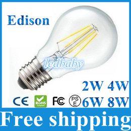 Lámpara de tungsteno e27 online-E27 Bombillas Led Luz Ahorro de energía 2W 4W 6W 8W Filamento de tungsteno Lámpara de luces LED cálida / fría Blanco AC85-265V con cubierta de vidrio transparente