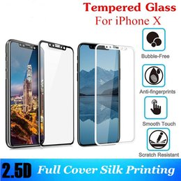 Wholesale Silk Glasses Box - 2.5D Full Cover Silk Printing For iphone X Tempered Glass for iPhone 10 iPhone 8 Screen Protector Film Glass with Retail Box