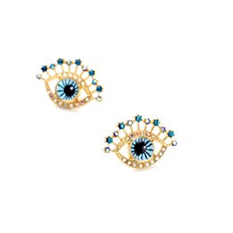 Wholesale gold sapphire earring - 2016 Fatima Evil Eye Stud Earrings Dotted Sapphire Crystal Studs Gold Tonal Popular for Lady Free Shipping