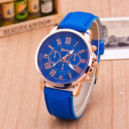 Wholesale Dress Min - Geneva Leather PU Quartz Watches Fashion Men Women Luxury Brand Numerals Roma Men's Watch Casual Dress Wrist Watches min order 5pcs