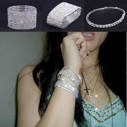 Wholesale Stretchy Rhinestone Bracelets - Infinity Rows Clear Rhinestone Wedding Woman Bracelet Crystal Stretchy Bridal Cuff Bangle CZ Waistbands Lady Jewelry For Party Gift ZAU*5