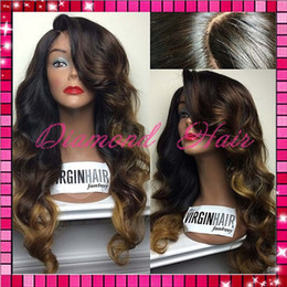 Wholesale Color Mix Lace Front Wig - Brazilian human hair body wave wig ombre human hair Full Lace wig lace front wig with baby hair for african americans women
