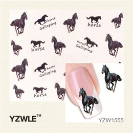 Wholesale Wholesale Horse Stickers - Wholesale- YZWLE 1 Pcs Horse Design New Arrival Water Transfer Nail Art Stickers Decal