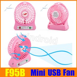 Wholesale Usb Rotary - F95B Attractive Portable cool Mini USB Fan Rechargeable Battery Operated LED Lamp for Indoor Outdoor Kids Table 18650 Battery free shipping