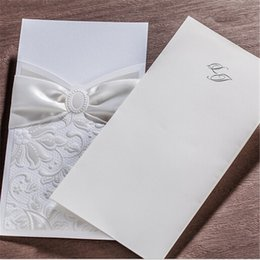 Wholesale Wedding Invitations Inserts - Wholesale- 20PCS Lot Portrait Insert Style Flower Wedding Invitations Cards 110x 210mm Baby Shower Party Wedding Anniversary Invation Cards