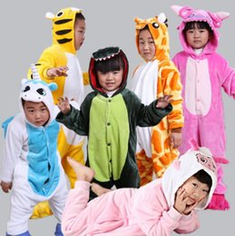 Wholesale 4t Nightgown - Cartoon Kids Pajamas Flannel cartoon animal nightgown Casual Kids Sleepwear Homewear Cosplay Animal Pajamas 21 designs 5sizes Xmas Gift 971