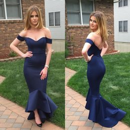 Wholesale Short Fitted Evening Dresses - Chic Navy Blue Off the Shoulder Mermaid Prom Dresses 2017 Custom Made Fitted High Low Prom Gowns Vestidos Hi-Lo Evening Party Gowns