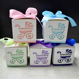 Wholesale Paper Gift For Boys - 200pcs lot Square Baby Shower Party Favour Gift Chocolate Candy Boxes In Laser Cut Baby Carriage Design Colors For Baby Girl And Boy