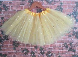 Wholesale Orange Yellow Tutu - Yellow baby girls dance tutu skirt princess tutu skirt star sparkly girlls tutu skirt tulle skirt