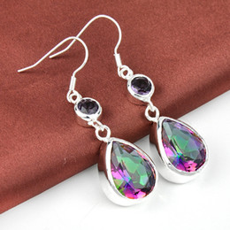 Wholesale New Gem Earrings - New Arrival Rushed Cuff free Shipping--2prs Lucky Shine Water Drop Colored Mystic Topaz Gems 925 Sterling Silver Plated Earrings E0466
