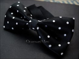 Wholesale commercial ties - Free Shipping New White Black Dotty Formal Commercial Male Marriage Bow ties For Men Butterfly Cravat Bowtie Butterflies Wedding