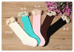 Wholesale Lace Top Boot Socks Wholesale - baby girl lace top socks kids Stockings classic knee BOOT high socks with lace solid color cotton socks 5color choose freely melee A-22