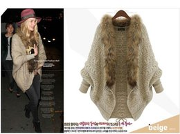 Wholesale High Fashion Coat For Ladies - 2015 New Fashion Fur coats for Women Clothes Winter Loose Sweater Cardigan Europe High-end Lady Bat Sleeve Knit Coat Cape Poncho