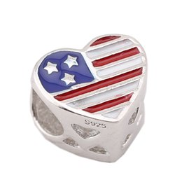 Wholesale Bracelets For America - Sterling Silver Charms 925 Ale Enameled America Flag European Charms for Pandora Bracelets DIY Beads Accessories