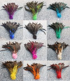 Wholesale yellow rooster feathers - Free shipping 100pcs high quality beautiful rooster tail feathers 30-35cm  12-14inches color you choose Wedding centerpiece decor