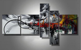 Wholesale Building Paintings - 5 Panels Handpainted Abstract Cityscape Building Oil Canvas Painting Mural Art Drawing for Home Living Hotel Office Wall Decor