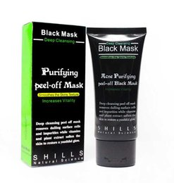 Wholesale Black Mask Collagen - SHILLS Blackhead Removal Bamboo charcoal Black Mask Deep Cleansing Peel Off Mask Pores Shrinking Acne Treatment Oil-control