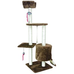 Wholesale Pet Cat Tree - PET Cat Tree Kitten Activity Tower Perches Scratching Post Squeaking Mice