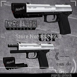 Wholesale Model Scale Pistol Toy - Free shipping paper model guns Hitman USP Pistol 1:1 scale weapons russian 3d paper puzzles diy toys