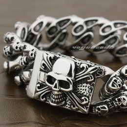 Wholesale Mens Heavy Chains - 8 Lengths Huge & Heavy 316L Stainless Steel Skull Mens Biker Bracelet 5Q012
