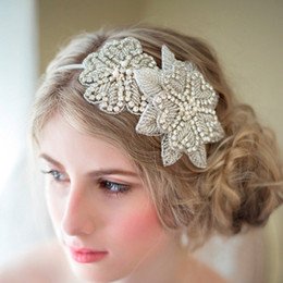 Wholesale Diamonds Bridal Headpieces - New 2018 Sweet Princess Bride Headdress European High-end Handmade Rhinestone Diamond Flower Ornaments Bridal Headband Wedding Headpieces