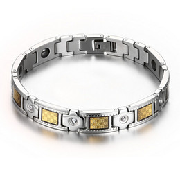 Wholesale Crystal Gifts For Men - Top Selling High Quality Silver Gold 316L Stainless Steel Link Chain Crystal Magnetic Bracelet Fine Gift Jewelry For Men and Boy