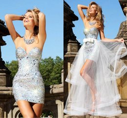 Wholesale Sparkly Short Prom - Sparkly Sweetheart Sheath Short Mini Prom Dresses Beaded Crystals Prom Dress Detachable Tulle Skirts Backless Bling Bling Girls Party Gowns