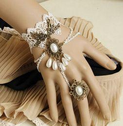 Wholesale Gothic Jewelry Wrist - Woman Charm Bracelets 2015 Wholesale Vintage White Lace Bracelets & Bangles Wrist Accessories Gothic Vampire Jewelry Bracelets for Women
