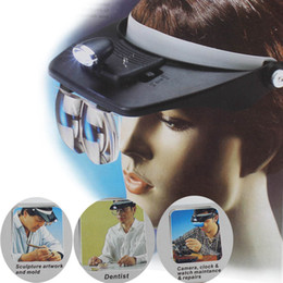 Wholesale Magnifying Headset Led - Headband Headset LED Head Light Magnifier Magnifying Glass Loupe 4x Lens