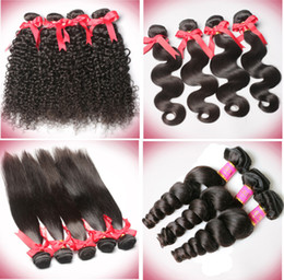 Wholesale Deep Wavy Curly - 6A Brazilian Body Wave Straight Deep Wave Curly Wavy Hair Weave Human Virgin Hair Natural Black Brown Color Can Be Dyed 3 Bundles