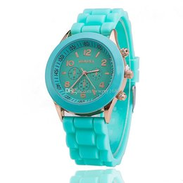 Wholesale Green Colored Roses - 2017 Shadow Rose-Gold Colored style geneva watch rubber candy jelly fashion unisex silicone quartz watches 100pcs lot