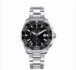 Wholesale Men Watch Sapphire - luxury brand men watches Chronograph Watch 43mm Ceramic Bezel Stainless Steel Quartz Movement Sports Watches Aquaracer Wristwatches