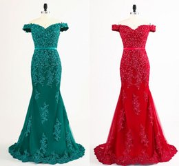 Wholesale Teal Trumpet Dress - Modern Off the shoulder Red Teal Evening Prom Dress Mermaid 2018 Applique Beaded Lace Corset Back Long Cheap Formal Real Photo Dresses Party