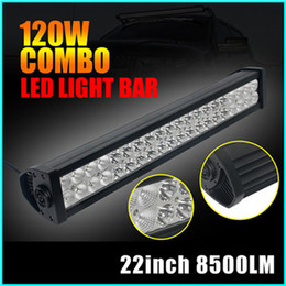 Wholesale Rectangle Offroad Led Lights - 22 inch 120W LED light bars Offroad LED light Spot Flood Combo Beam Car Working Lamp for Truck Jeep wrangler Boat