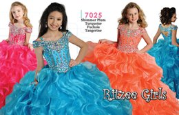 Wholesale Glitzy Beads - Girls PageanT Ritzee Girls Glitzy Kids Flower Party Evening Prom Dresses Ball gown Straps Floor-length Ruffles 2016 Summer New Arrival