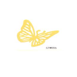 tatuajes de henna en la muñeca Rebajas Pegatinas para tatuajes temporales Metálico Lámina de oro Tatuaje Diseño individual 20pcs Tatuajes flash Tatuaje temporal a prueba de agua de oro Acerca de 2 * 2 pulgadas GTM