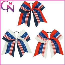 Wholesale Children July 4th - 18 pcs lot 7 inch Large Fabric Girls Bow 4th Of July Patchwork Cheerleading Bows With Elastic Band For Children Baby