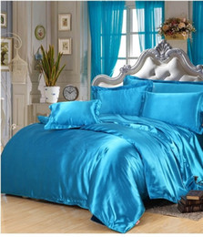 Wholesale Single Fitted Sheets - Silk bedding set lake blue satin california king size queen full twin duvet cover fitted bed sheet bedspreads double single 6pcs bedlinen