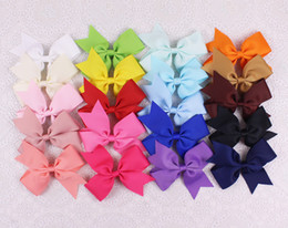 Wholesale Toddler Hair Barrettes - 20pcs top selling 4inches lasting Grosgrain hair accesorries baby girl toddler boutique solid hair bows WITH clips 2788-Y
