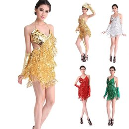 Wholesale Professional Ballroom Dance - 2015 Handmade Spandex Sexy Prom Ballroom Latin Dance Costume Salsa Samba Cha Cha Tango Professional Dancewear Dress Skirt 4 Colors Golden