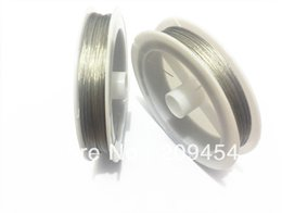 Wholesale Steel Wire Cord Necklace - Wholesale ! 0.45MM Thickness Silver 2Rolls lot Stainless Steel Tiger Tail Wire For Chunky Necklace (1roll about 80M )