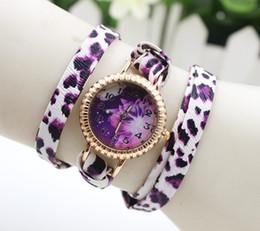 Wholesale Leopard Watches For Women - Vintage leather Leopard Watches fashion bracelets watch wrap Wristwatch quartz flower dress watches for women ladies 100pcs