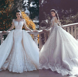 Wholesale Long White Tulle Skirt - 2018 New Backless Mermaid Lace Wedding Dresses With Detachable Train Long Sleeves Beaded Tulle Overskirt Dubai Arabic Bridal Gowns