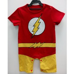 Wholesale Baby Boys Super - Baby Boys Romper Summer Short Sleeve Flash Romper Cotton Newborn Super Heros Costums Cosplay Cos Playsuit Fancy Clothes