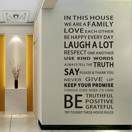 Wholesale decal stickers print paper - English Proverbs Wall Sticker Family House Rules Wall Stickers Decal Removable Decor Home Kids Great Gift Wallpapers