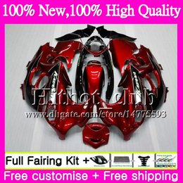 Wholesale Suzuki Gsxf Fairings - Dark red blk Body For SUZUKI KATANA GSXF 600 750 GSXF600 98 99 00 01 02 21HT21 GSX600F GSXF750 1998 1999 2000 2001 2002 Motorcycle Fairing