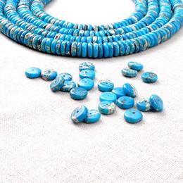 Wholesale Turquoise Howlite Gemstones - Imitation Gemstone Turquoise Loose Beads Flat Round Howlite Spacer Beads Fashion Designer Jewelry Supplies BYYLS0310 50pcs lot