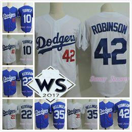 Wholesale Fans Patches - 2017 WS Patch LA Jerseys 10 Justin Turner 22 Clayton Kershaw 35 Cody Bellinger 42 Jackie Robinson Jersey White Blue Fan