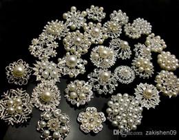 Bouquets de mariée en cristal en Ligne-30P ARGENT COLORX Mixte En Vrac De Mariage Nuptiale Plaqué Argent Cristaux Broches Broche Bouquet Faux Perle Diamant