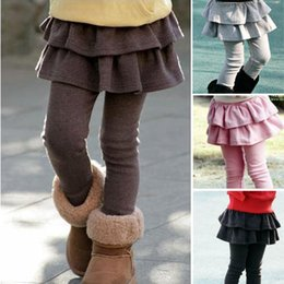 2019 12 meses ropa de marcas para niños Al por mayor-2015 antumn invierno nueva moda pantalones cálidos ropa para niños niñas polainas faldas algodón pastel culottes niños / bebés pantalones